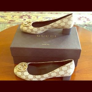 """GUCCI ORIGINAL GG CANVAS HEEL WITH DOUBLE """"G"""""""